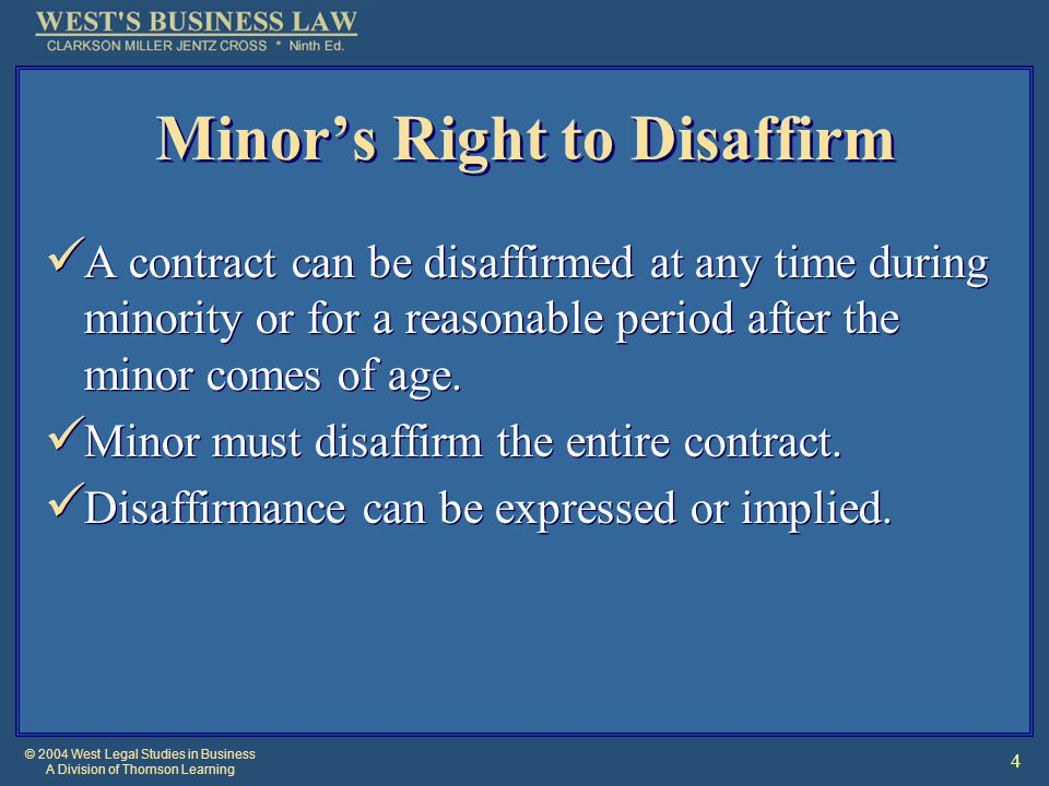 © 2004 West Legal Studies in Business A Division of Thomson Learning 15 Contracts Contrary to Public Policy Contracts in Restraint of Trade Anti-Competitive Agreements are void.