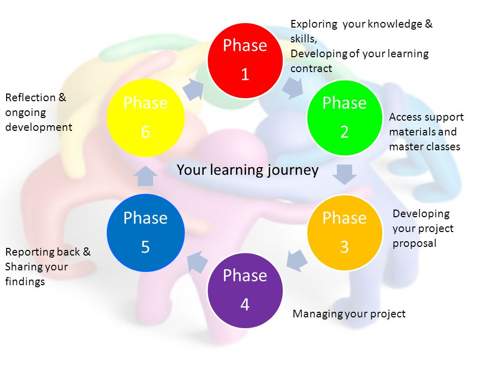 Phase 1 Phase 2 Phase 3 Phase 4 Phase 5 Phase 6 Exploring your knowledge & skills, Developing of your learning contract Access support materials and m