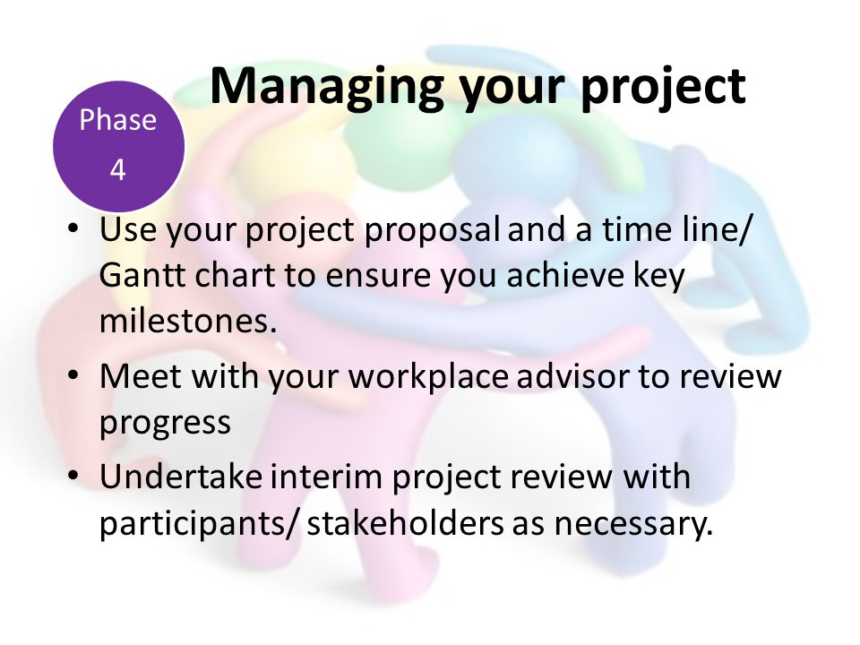 Use your project proposal and a time line/ Gantt chart to ensure you achieve key milestones. Meet with your workplace advisor to review progress Under