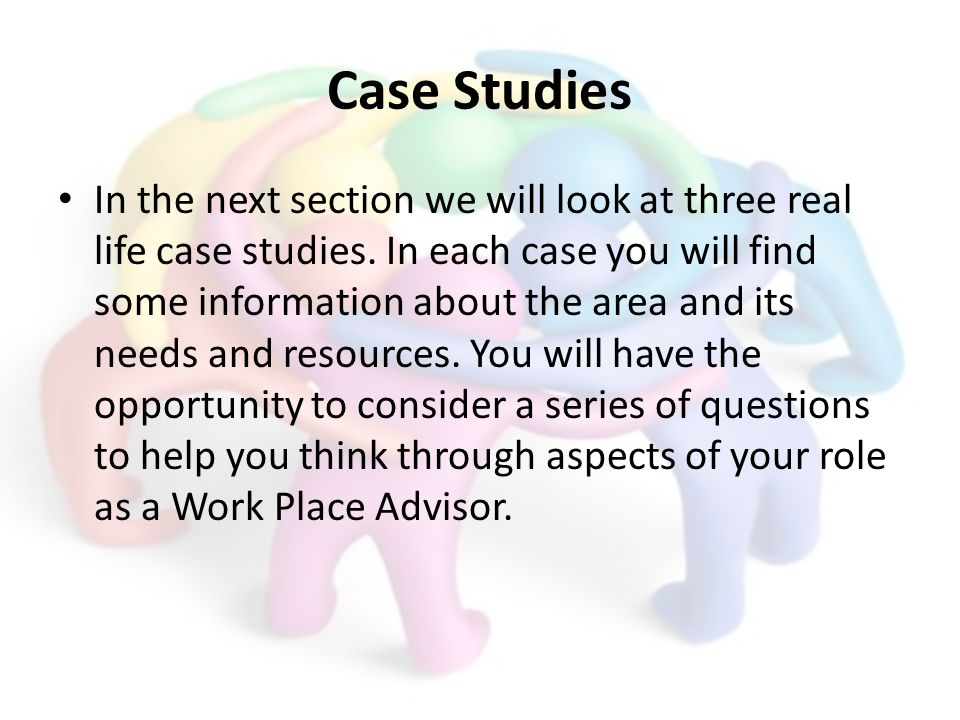 Case Studies In the next section we will look at three real life case studies.