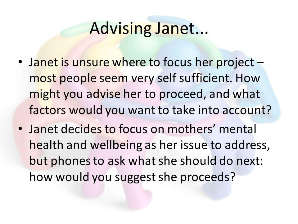 Advising Janet...