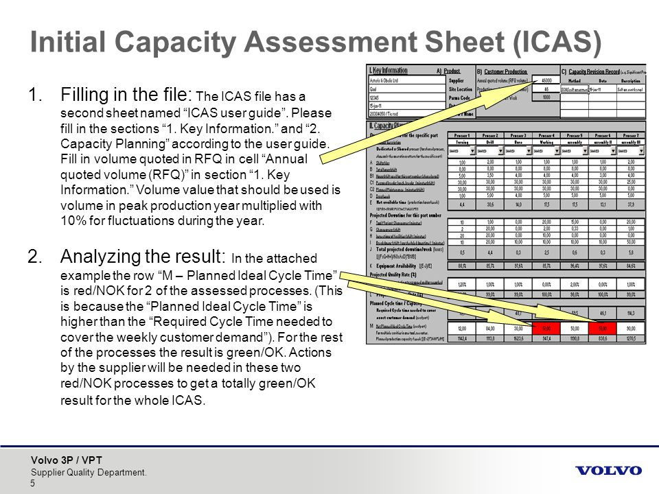 Volvo 3P / VPT Supplier Quality Department. 5 Initial Capacity Assessment Sheet (ICAS) 1.Filling in the file: The ICAS file has a second sheet named I