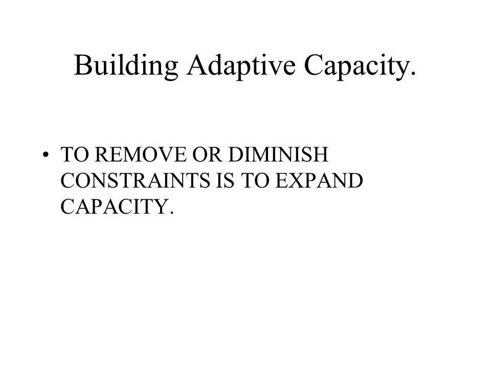 Building Adaptive Capacity. TO REMOVE OR DIMINISH CONSTRAINTS IS TO EXPAND CAPACITY.