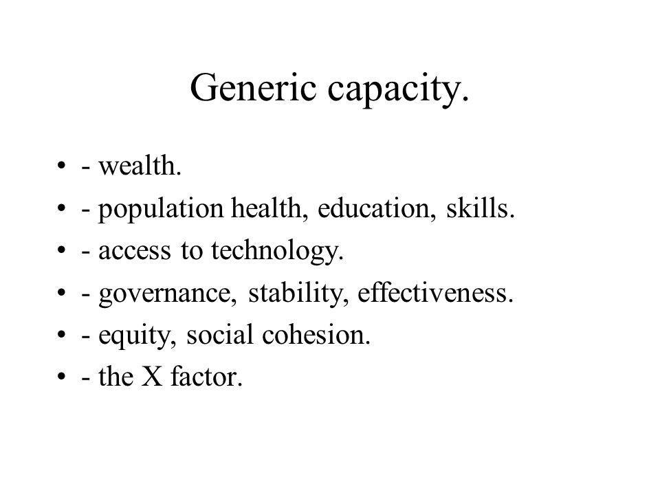 Generic capacity. - wealth. - population health, education, skills.