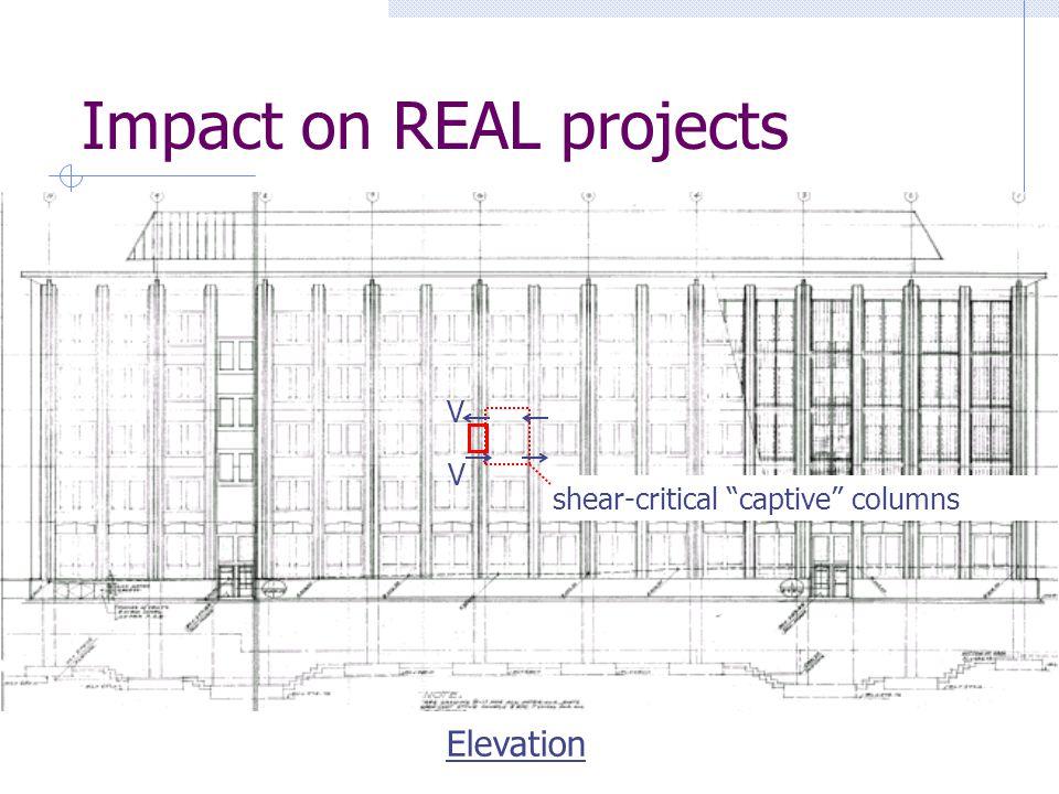 Impact on REAL projects Elevation shear-critical captive columns V V