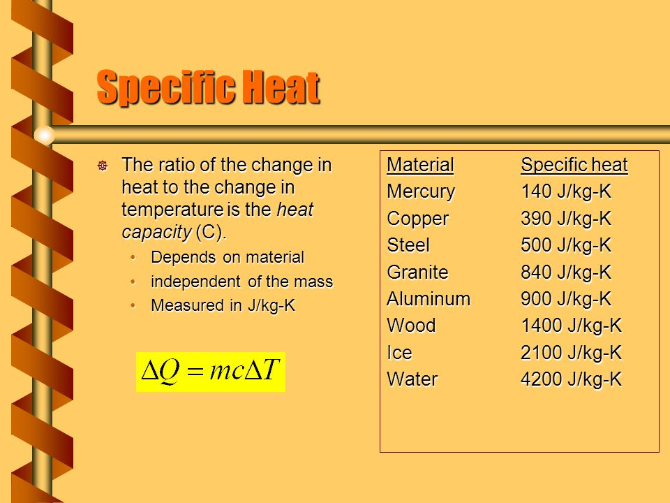 Specific Heat The ratio of the change in heat to the change in temperature is the heat capacity (C).