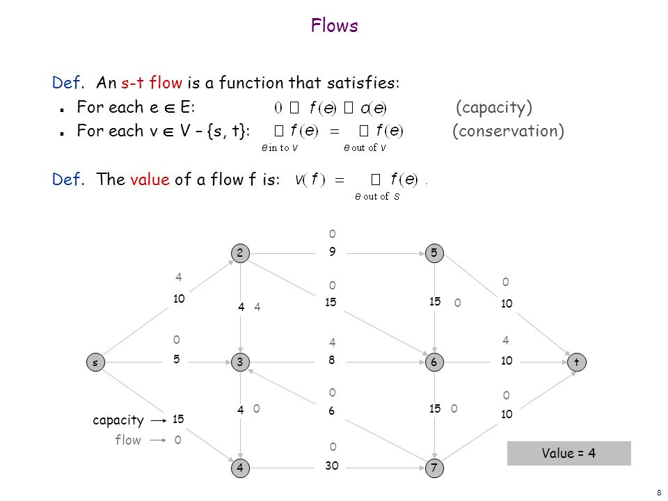 8 Def. An s-t flow is a function that satisfies: n For each e E: (capacity) n For each v V – {s, t}: (conservation) Def. The value of a flow f is: Flo