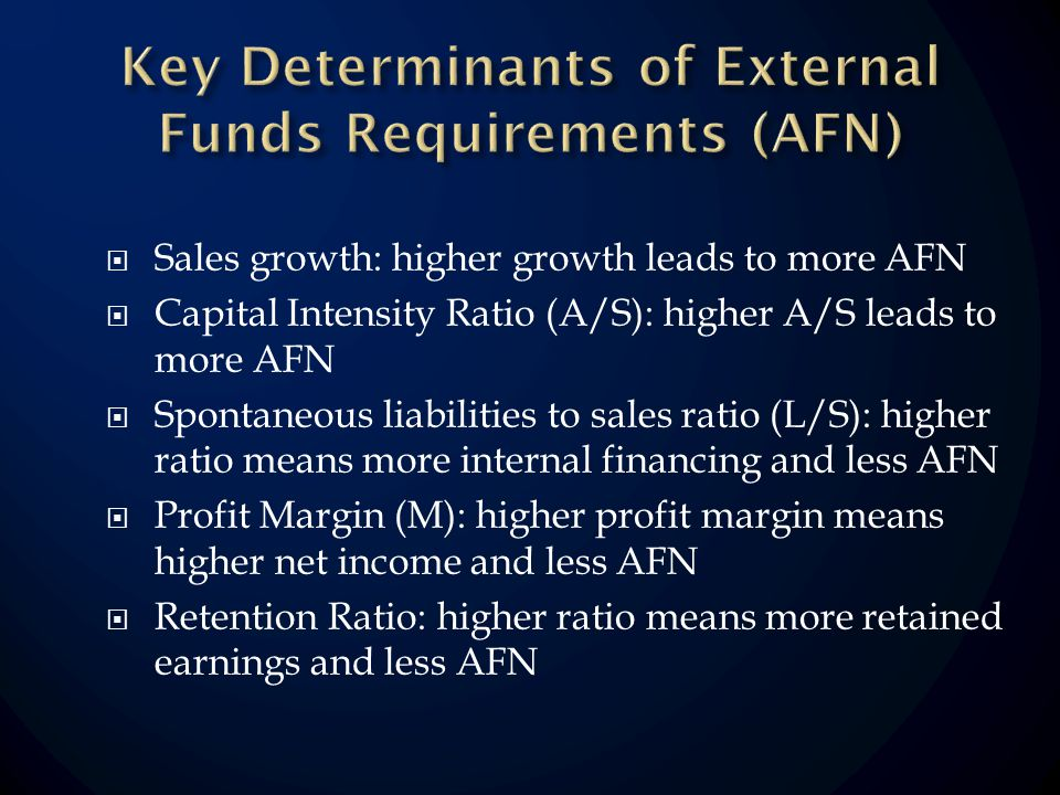 Sales growth: higher growth leads to more AFN Capital Intensity Ratio (A/S): higher A/S leads to more AFN Spontaneous liabilities to sales ratio (L/S): higher ratio means more internal financing and less AFN Profit Margin (M): higher profit margin means higher net income and less AFN Retention Ratio: higher ratio means more retained earnings and less AFN