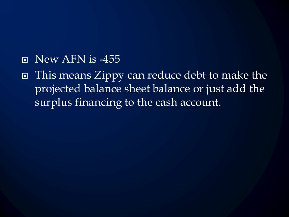 New AFN is -455 This means Zippy can reduce debt to make the projected balance sheet balance or just add the surplus financing to the cash account.