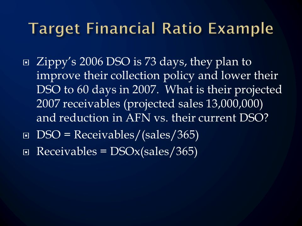 Zippys 2006 DSO is 73 days, they plan to improve their collection policy and lower their DSO to 60 days in 2007.