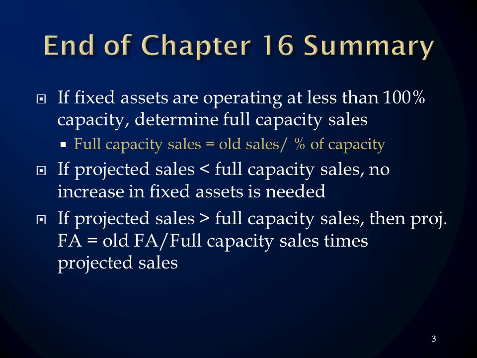 3 If fixed assets are operating at less than 100% capacity, determine full capacity sales Full capacity sales = old sales/ % of capacity If projected
