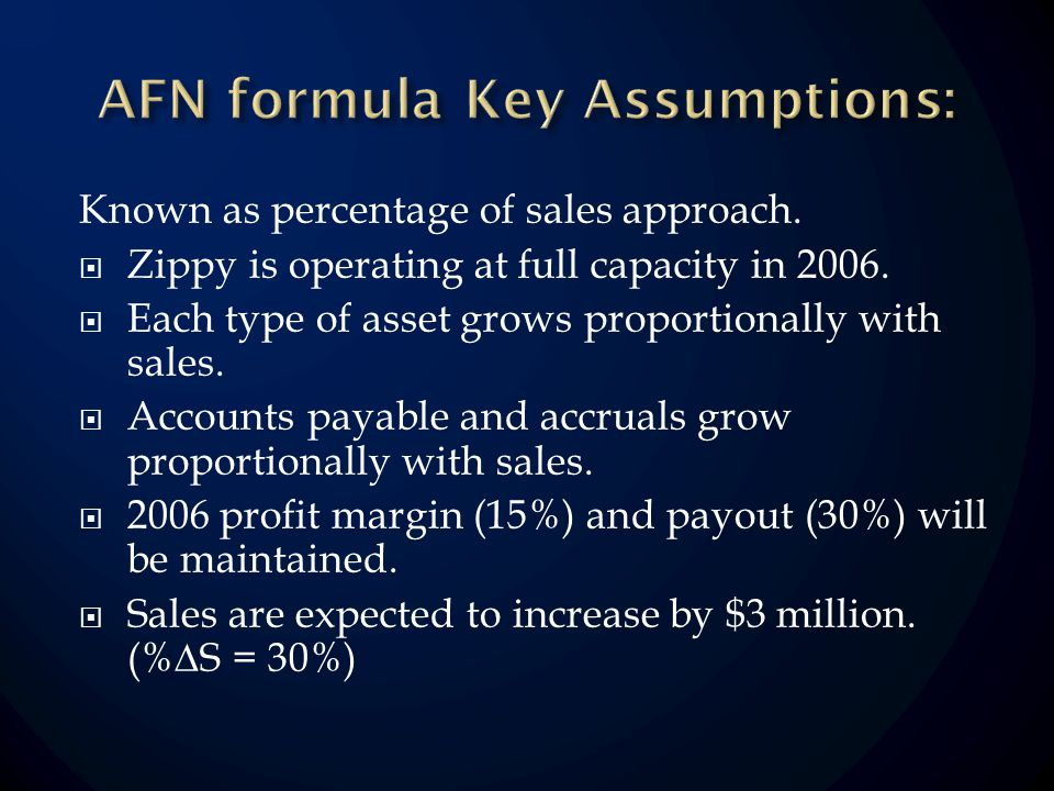 Known as percentage of sales approach. Zippy is operating at full capacity in 2006.