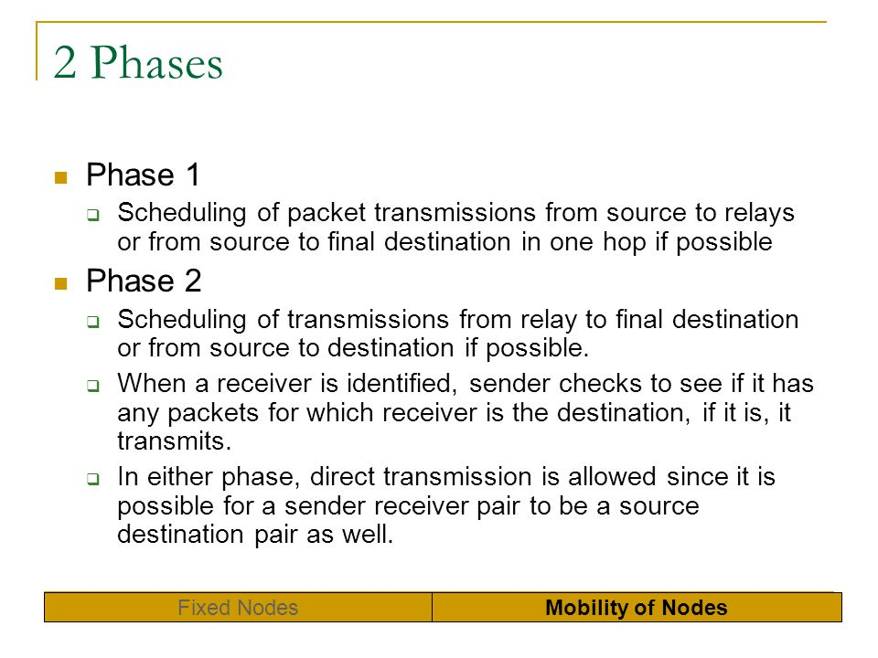 2 Phases Phase 1 Scheduling of packet transmissions from source to relays or from source to final destination in one hop if possible Phase 2 Schedulin