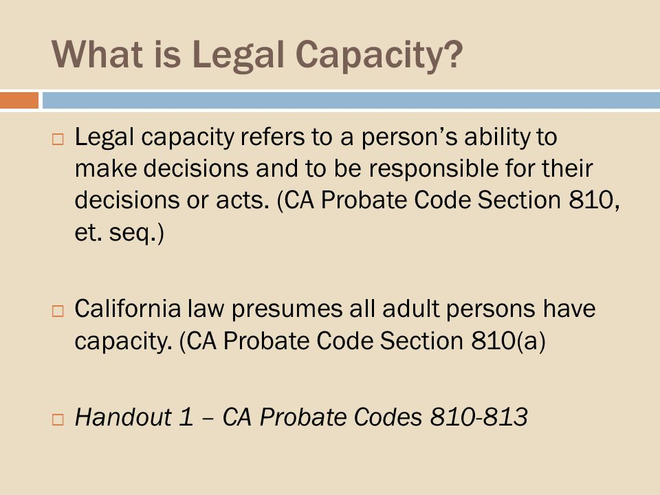 What is Legal Capacity.