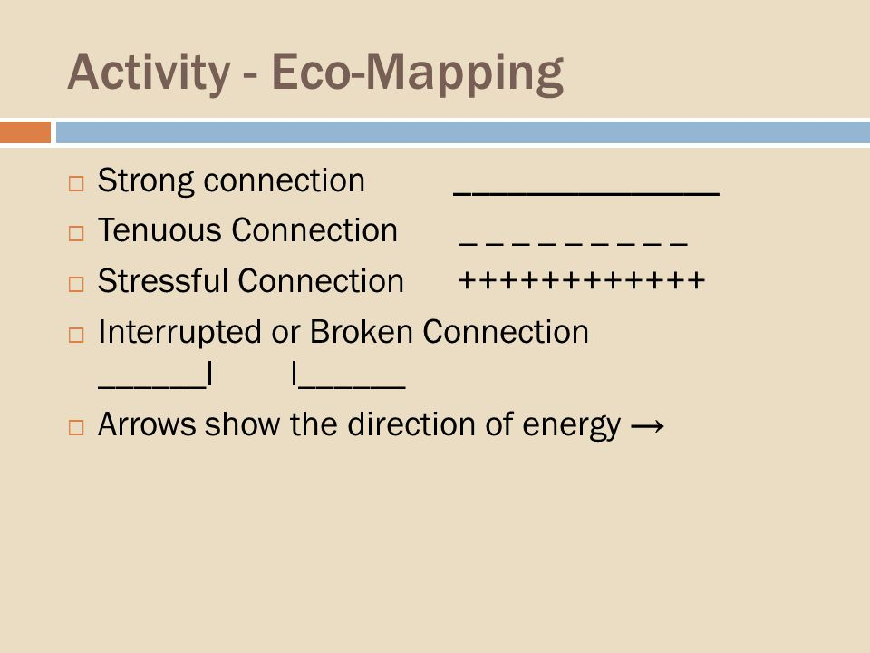 Activity - Eco-Mapping Strong connection _______________ Tenuous Connection _ _ _ _ _ _ _ _ _ Stressful Connection ++++++++++++ Interrupted or Broken Connection ______l l______ Arrows show the direction of energy