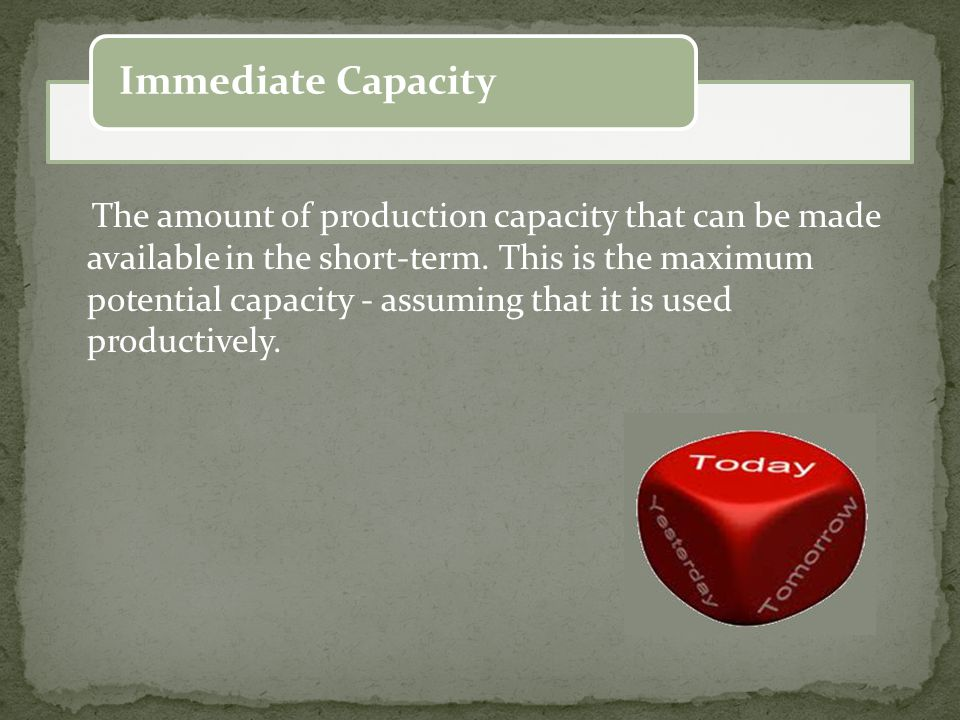 The amount of production capacity that can be made available in the short-term.