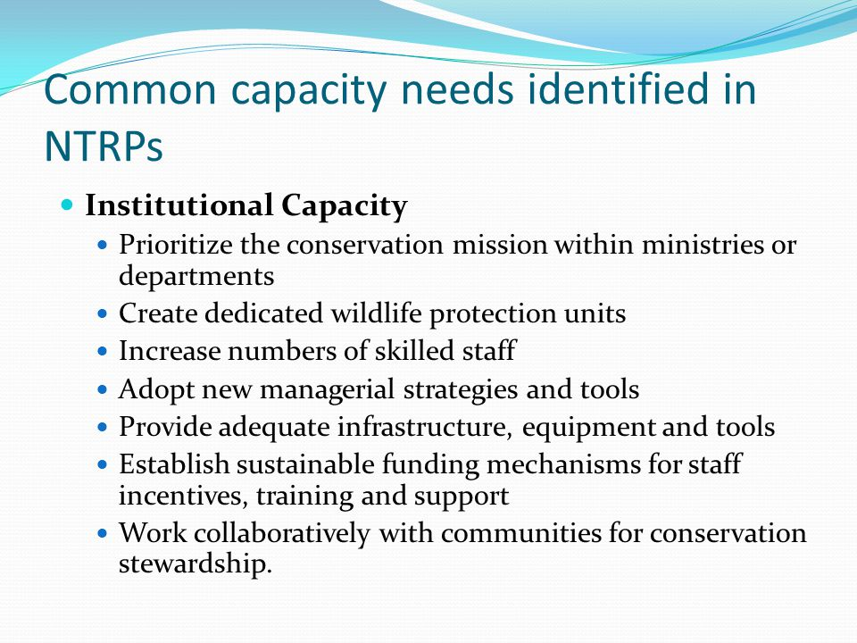 Common capacity needs identified in NTRPs Institutional Capacity Prioritize the conservation mission within ministries or departments Create dedicated wildlife protection units Increase numbers of skilled staff Adopt new managerial strategies and tools Provide adequate infrastructure, equipment and tools Establish sustainable funding mechanisms for staff incentives, training and support Work collaboratively with communities for conservation stewardship.
