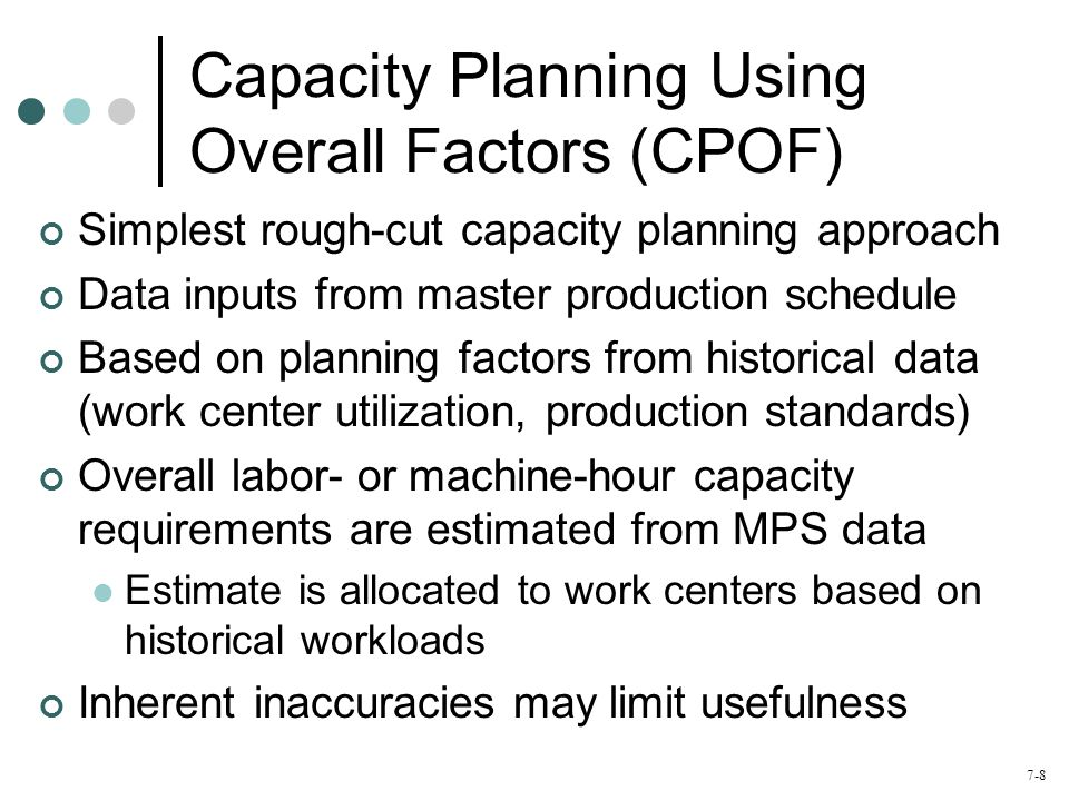 7-9 CPOF Example Total required capacity = (33*0.95)+(17*1.