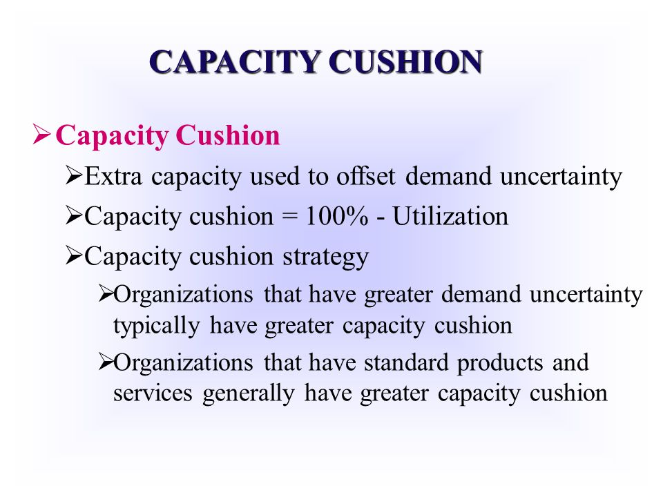 CAPACITY CUSHION Capacity Cushion Extra capacity used to offset demand uncertainty Capacity cushion = 100% - Utilization Capacity cushion strategy Org