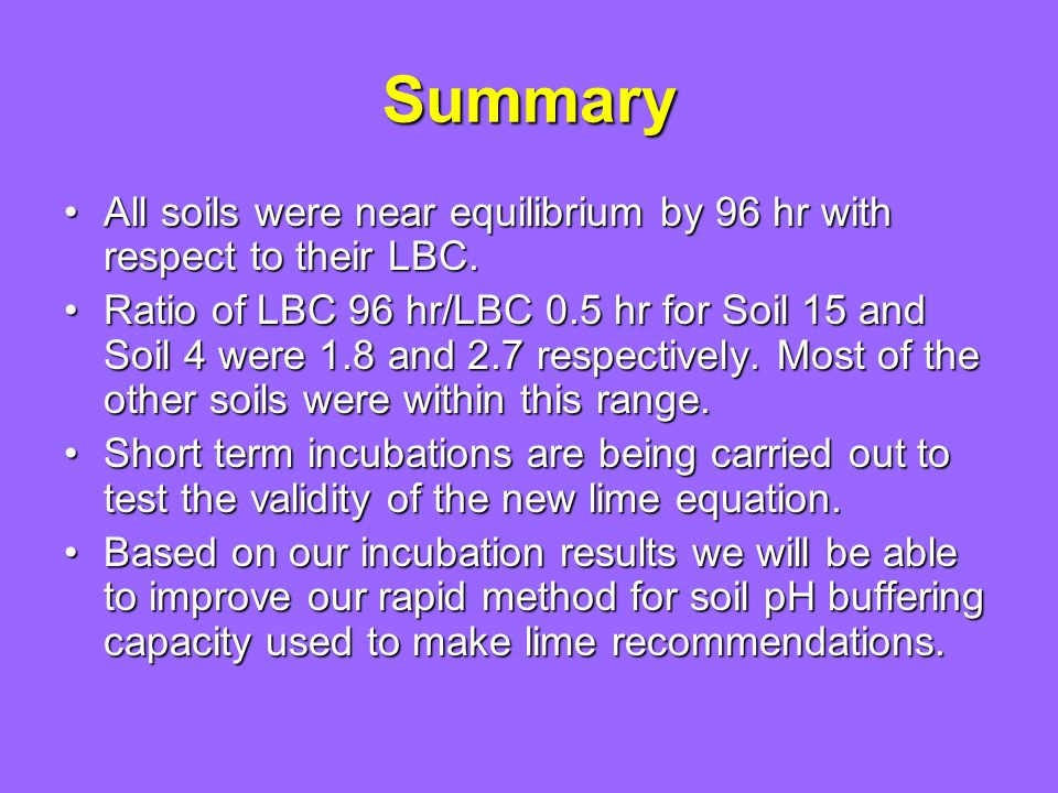 Summary All soils were near equilibrium by 96 hr with respect to their LBC.All soils were near equilibrium by 96 hr with respect to their LBC.