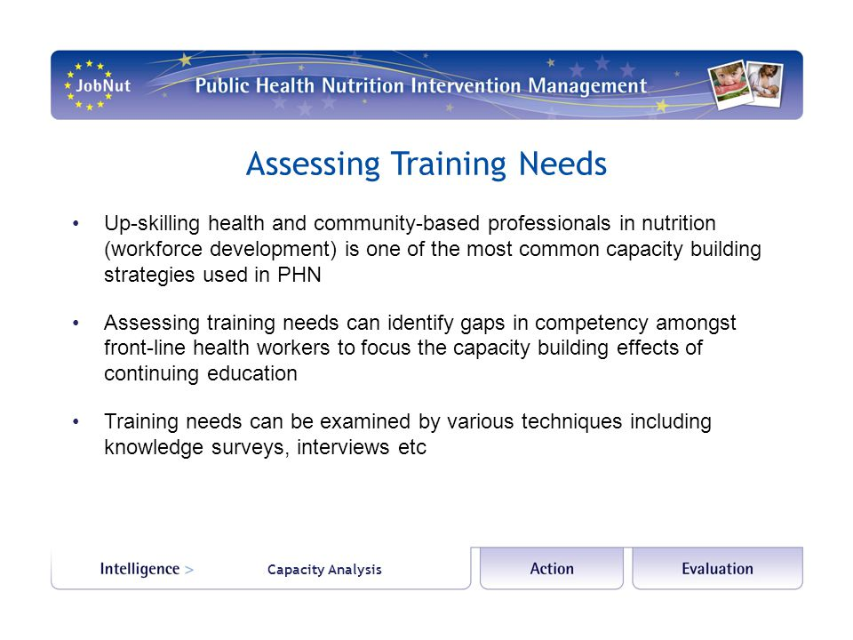 Capacity Analysis Assessing Training Needs Up-skilling health and community-based professionals in nutrition (workforce development) is one of the most common capacity building strategies used in PHN Assessing training needs can identify gaps in competency amongst front-line health workers to focus the capacity building effects of continuing education Training needs can be examined by various techniques including knowledge surveys, interviews etc