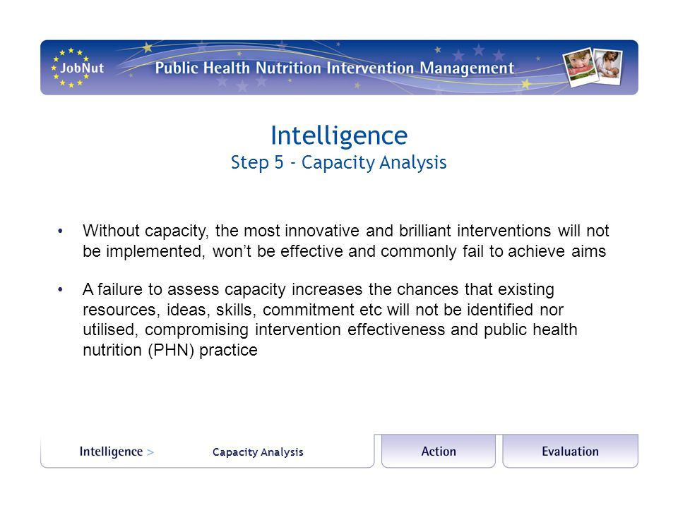 Intelligence Step 5 - Capacity Analysis Capacity Analysis Without capacity, the most innovative and brilliant interventions will not be implemented, wont be effective and commonly fail to achieve aims A failure to assess capacity increases the chances that existing resources, ideas, skills, commitment etc will not be identified nor utilised, compromising intervention effectiveness and public health nutrition (PHN) practice