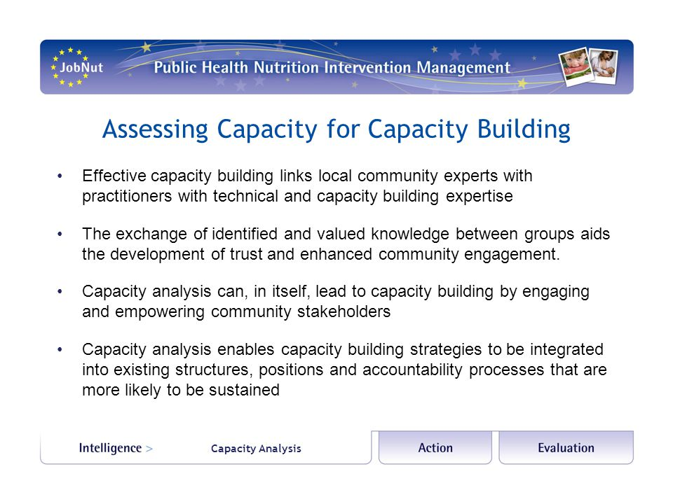 Capacity Analysis Assessing Capacity for Capacity Building Effective capacity building links local community experts with practitioners with technical and capacity building expertise The exchange of identified and valued knowledge between groups aids the development of trust and enhanced community engagement.