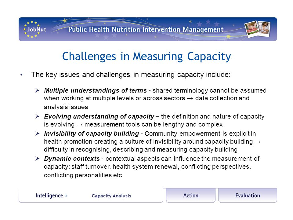 Capacity Analysis Challenges in Measuring Capacity The key issues and challenges in measuring capacity include: Multiple understandings of terms - shared terminology cannot be assumed when working at multiple levels or across sectors data collection and analysis issues Evolving understanding of capacity – the definition and nature of capacity is evolving measurement tools can be lengthy and complex Invisibility of capacity building - Community empowerment is explicit in health promotion creating a culture of invisibility around capacity building difficulty in recognising, describing and measuring capacity building Dynamic contexts - contextual aspects can influence the measurement of capacity: staff turnover, health system renewal, conflicting perspectives, conflicting personalities etc