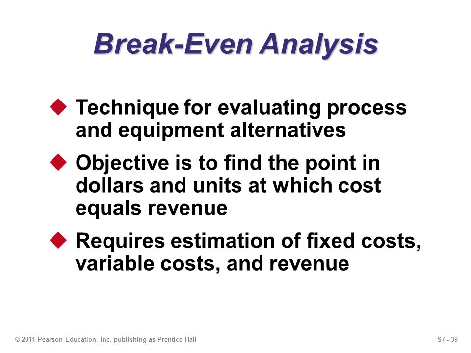 S7 - 39© 2011 Pearson Education, Inc. publishing as Prentice Hall Break-Even Analysis Technique for evaluating process and equipment alternatives Obje