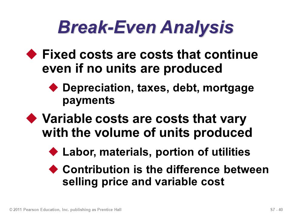 S7 - 40© 2011 Pearson Education, Inc. publishing as Prentice Hall Break-Even Analysis Fixed costs are costs that continue even if no units are produce