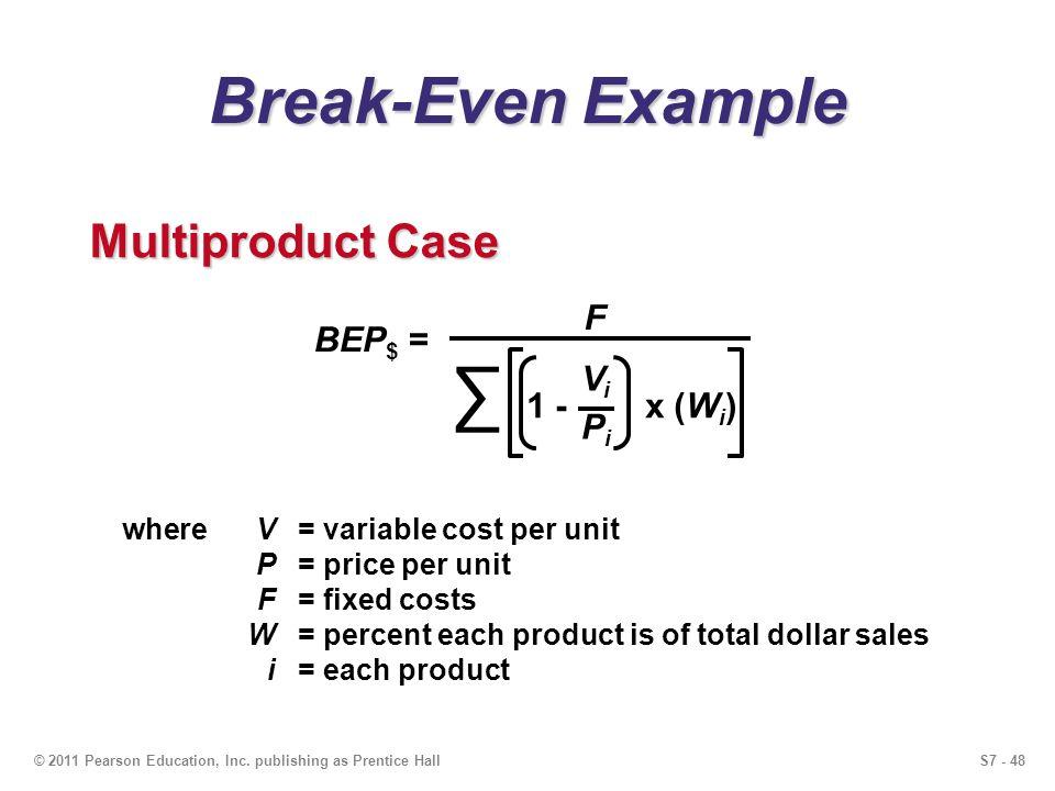 S7 - 48© 2011 Pearson Education, Inc. publishing as Prentice Hall Break-Even Example BEP $ = F 1 - x (W i ) ViPiViPi Multiproduct Case whereV= variabl