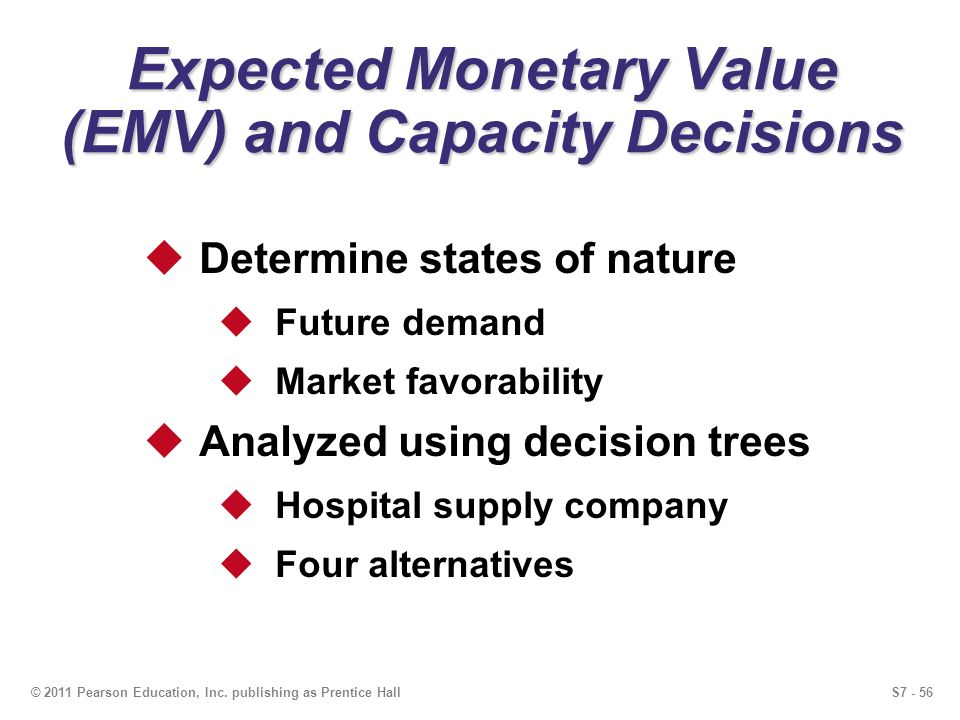 S7 - 56© 2011 Pearson Education, Inc. publishing as Prentice Hall Expected Monetary Value (EMV) and Capacity Decisions Determine states of nature Futu