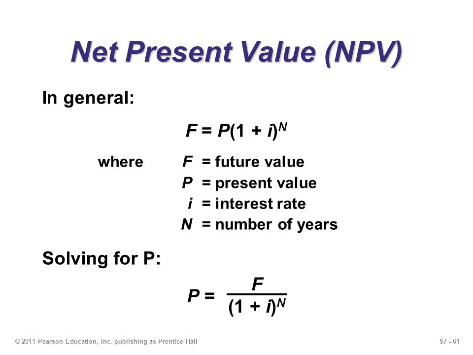 S7 - 61© 2011 Pearson Education, Inc. publishing as Prentice Hall Net Present Value (NPV) whereF= future value P= present value i= interest rate N= nu