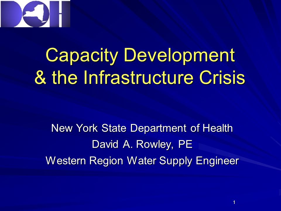 1 Capacity Development & the Infrastructure Crisis New York State Department of Health David A.