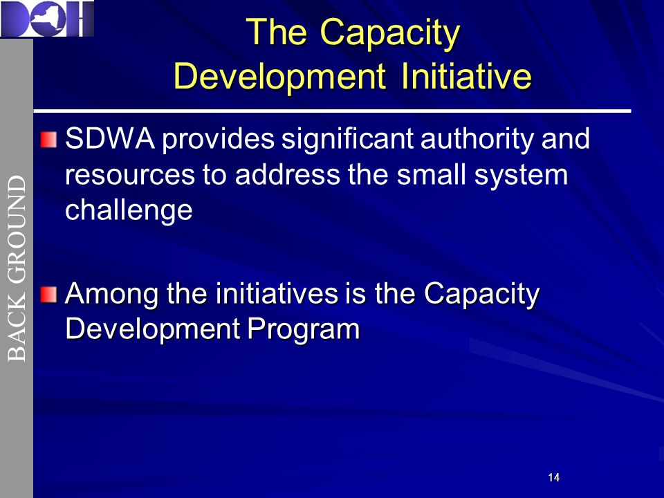 1414 The Capacity Development Initiative SDWA provides significant authority and resources to address the small system challenge Among the initiatives is the Capacity Development Program BACK GROUND