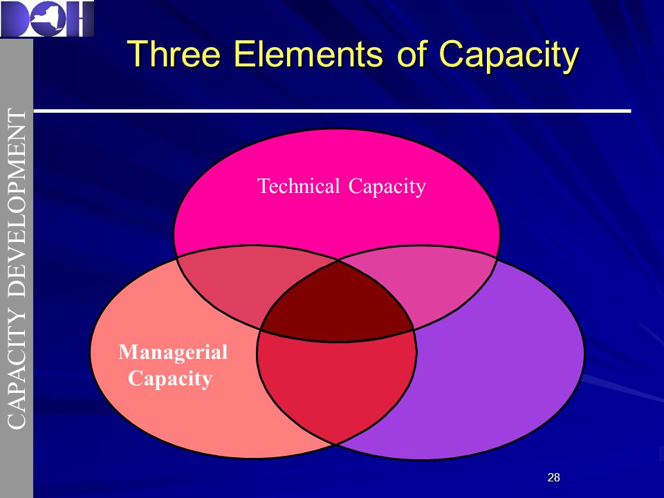 2828 Three Elements of Capacity Technical Capacity Managerial Capacity CAPACITY DEVELOPMENT