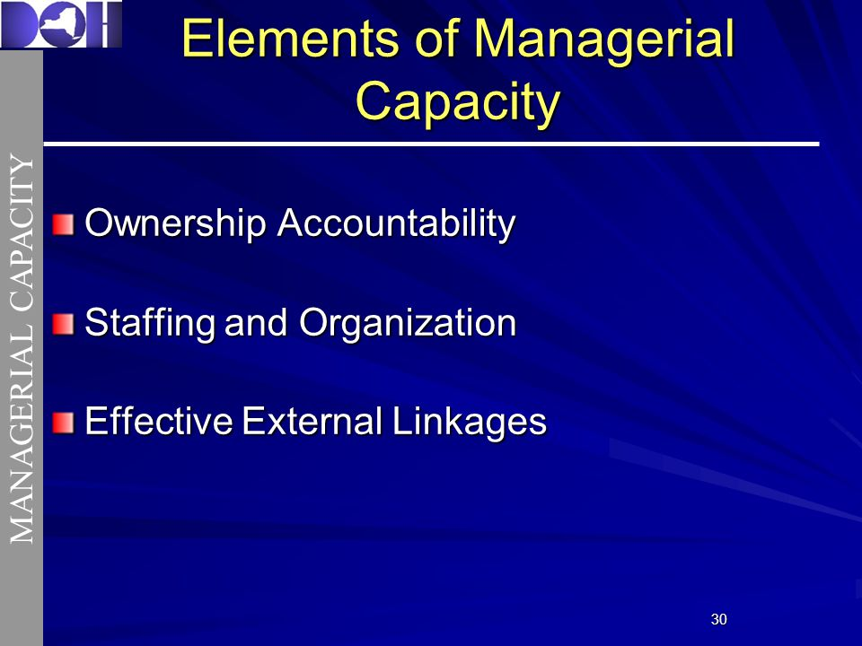 3030 Ownership Accountability Staffing and Organization Effective External Linkages Elements of Managerial Capacity MANAGERIAL CAPACITY