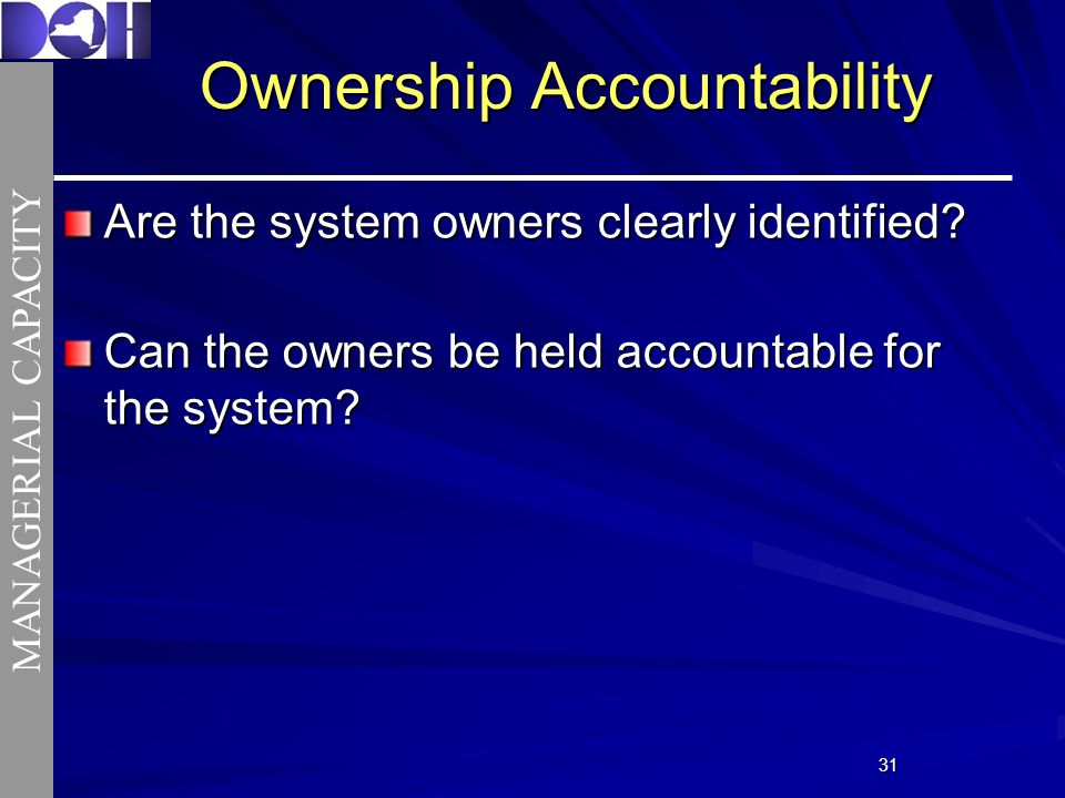 3131 Ownership Accountability Are the system owners clearly identified.