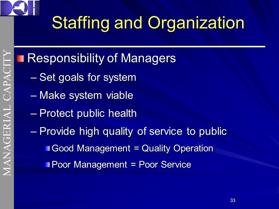 3333 Responsibility of Managers –Set goals for system –Make system viable –Protect public health –Provide high quality of service to public Good Management = Quality Operation Poor Management = Poor Service Staffing and Organization MANAGERIAL CAPACITY