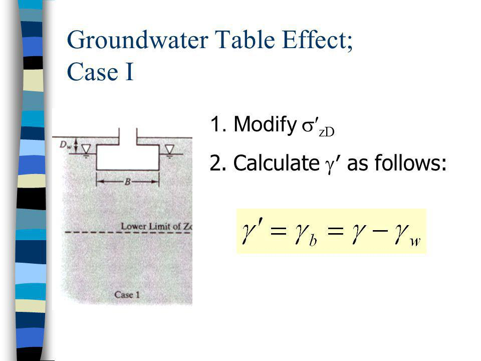 Groundwater Table Effect; Case I 1.Modify zD 2.Calculate as follows: