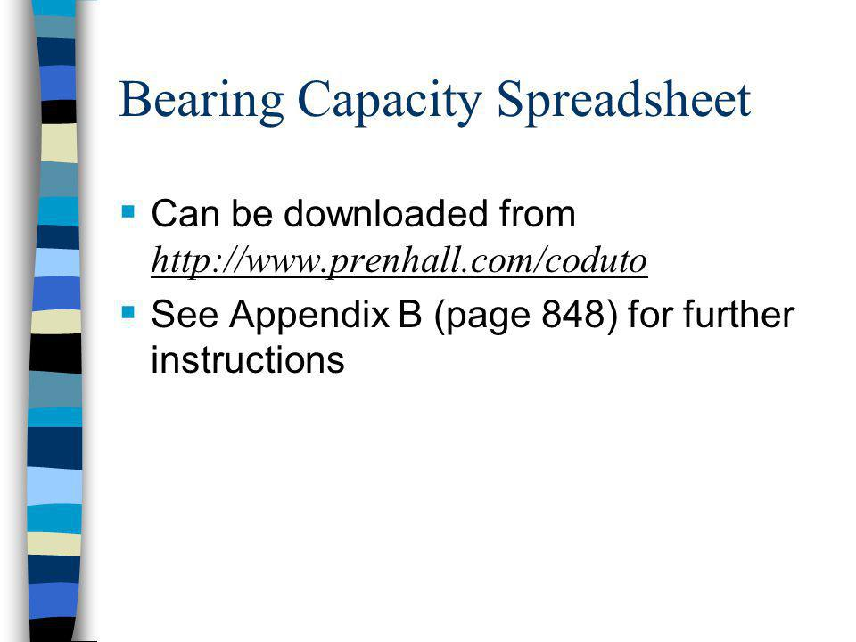 Bearing Capacity Spreadsheet Can be downloaded from http://www.prenhall.com/coduto See Appendix B (page 848) for further instructions