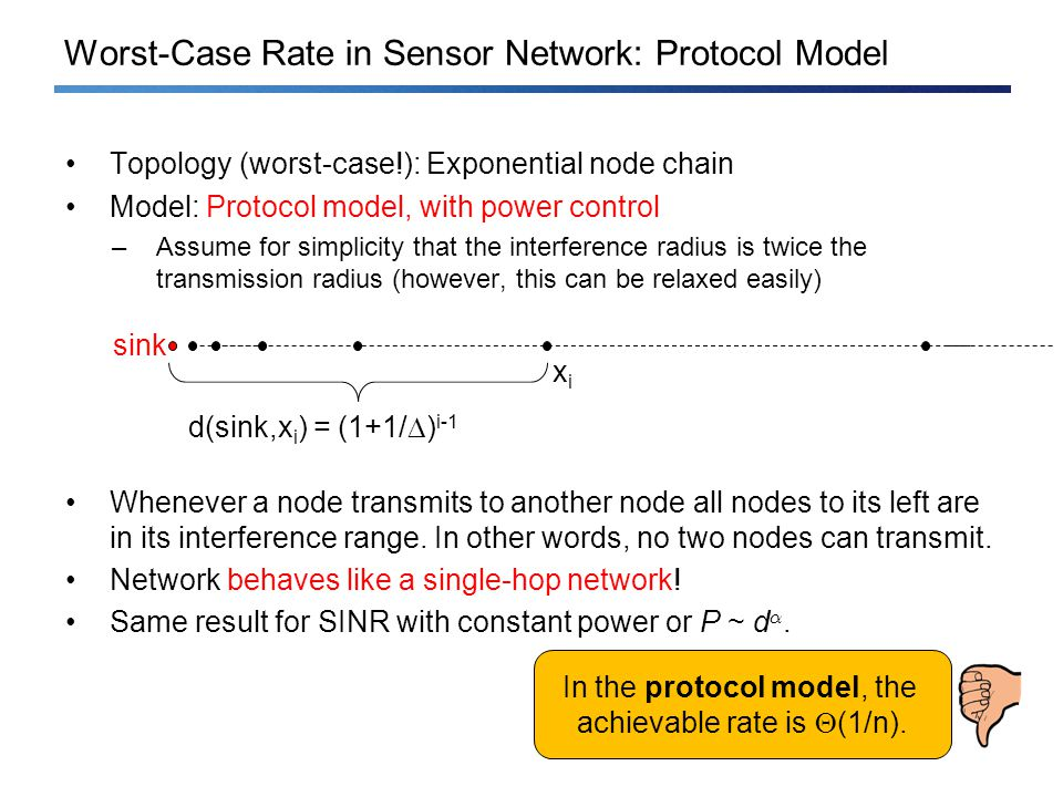 Worst-Case Rate in Sensor Network: Protocol Model Topology (worst-case!): Exponential node chain Model: Protocol model, with power control –Assume for simplicity that the interference radius is twice the transmission radius (however, this can be relaxed easily) Whenever a node transmits to another node all nodes to its left are in its interference range.