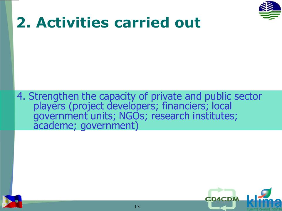 13 2. Activities carried out 4.