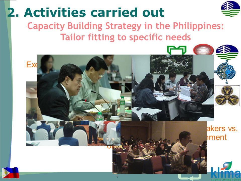 7 Capacity Building Strategy in the Philippines: Tailor fitting to specific needs 2.