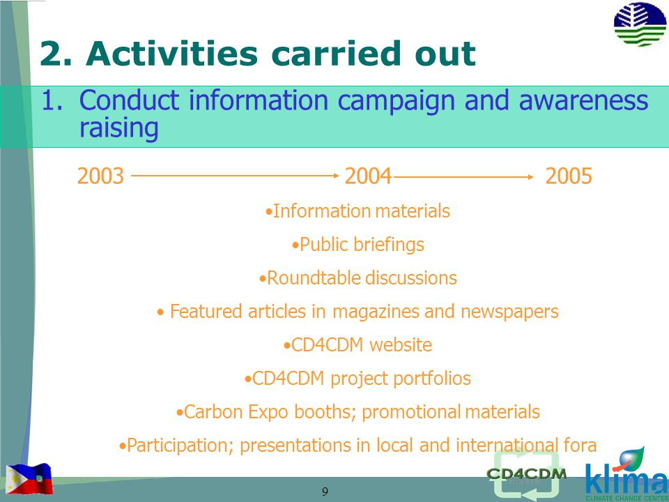 9 2. Activities carried out 1.Conduct information campaign and awareness raising.
