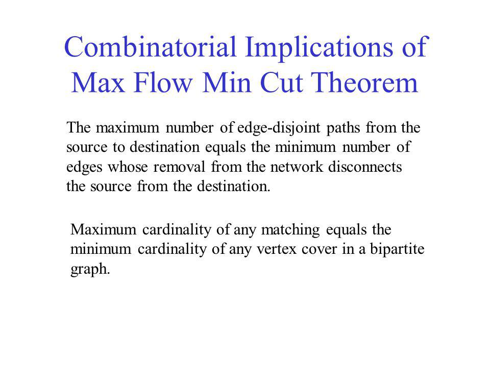 Combinatorial Implications of Max Flow Min Cut Theorem The maximum number of edge-disjoint paths from the source to destination equals the minimum number of edges whose removal from the network disconnects the source from the destination.