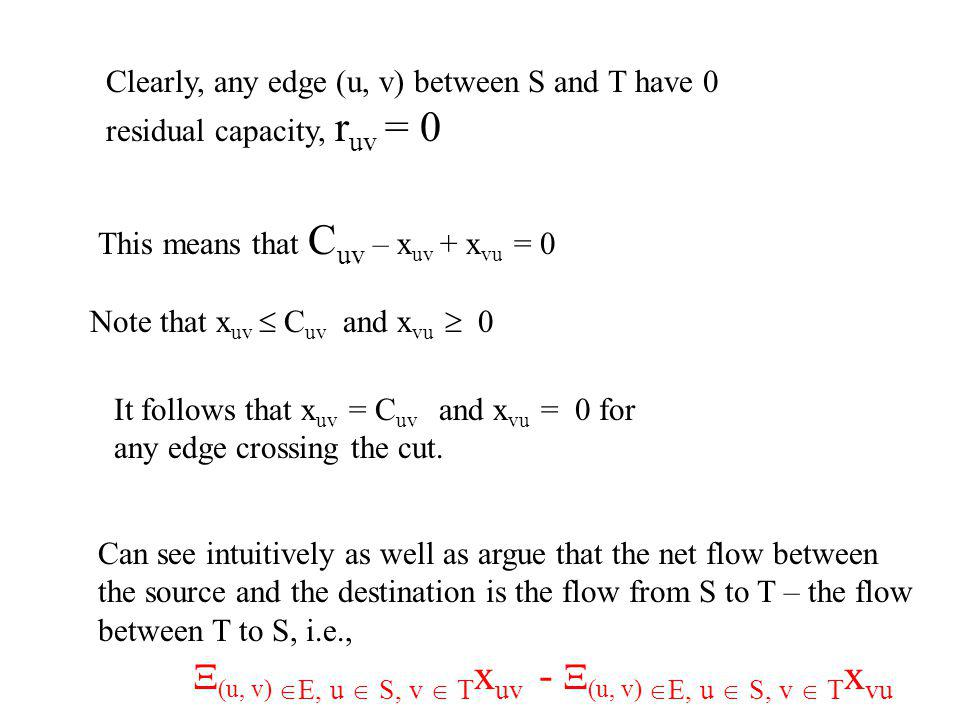 Clearly, any edge (u, v) between S and T have 0 residual capacity, r uv = 0 This means that C uv – x uv + x vu = 0 Note that x uv C uv and x vu 0 It follows that x uv = C uv and x vu = 0 for any edge crossing the cut.