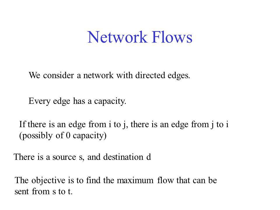 Flow Maximization Input flow = Output Flow at every node other than the source and the destination (flow conservation) v: (v, u) E x vu = v: (u, v) E x uv Flow in every edge is upper bounded by the edge capacity 0 x uv C uv Maximize the total output flow from the source d such that Flow in edge (u, v) is x uv