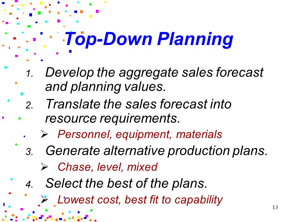 12 Capacity Planning Approaches Top-Down Similar products OR stable mix Standards available for planning –time, cost requirements from history and/or planning documentation Can Average product Bottom-Up Different products AND unstable mix Requires forecasts and production data for individual products Can be extremely data- intensive