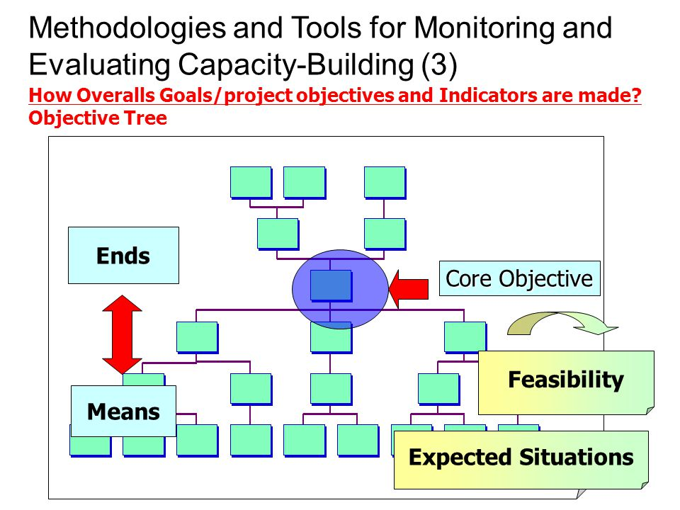 Expected Situations Feasibility Means Ends Core Objective Methodologies and Tools for Monitoring and Evaluating Capacity-Building (3) How Overalls Goals/project objectives and Indicators are made.